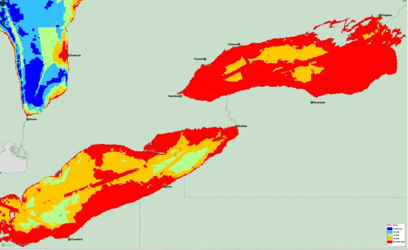 The most threatened, Lakes Erie and Ontario.
