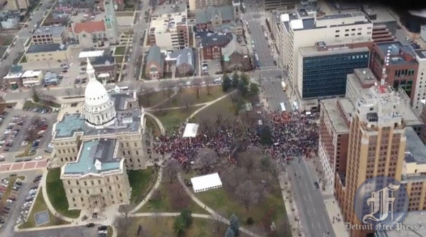 Protestors outside the Capitol in Lansing. Right-to-work legislation is being voted on this morning. It's expected to pass.