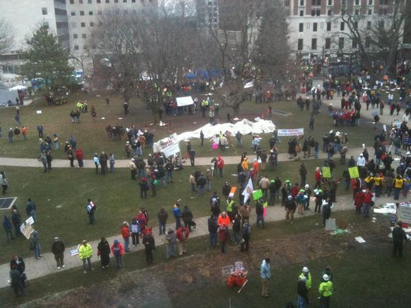 The Americans for Prosperity tent in ruins on the Capitol lawn.