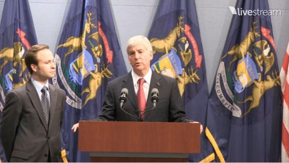 Gov. Rick Snyder speaking about Michigan right-to-work legislation