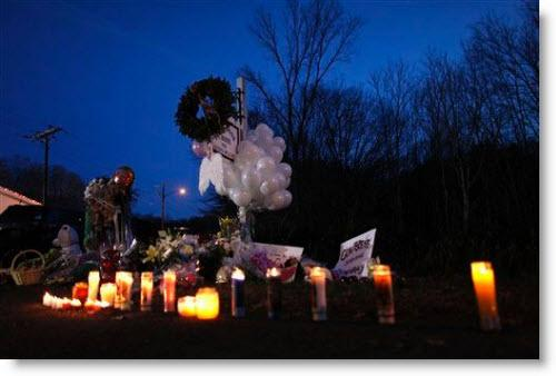 A memorial for the victims at Sandy Hook elementary school.