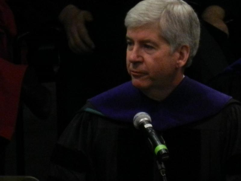 Michigan Gov. Rick Snyder delivers the fall commencement address at Michigan State University