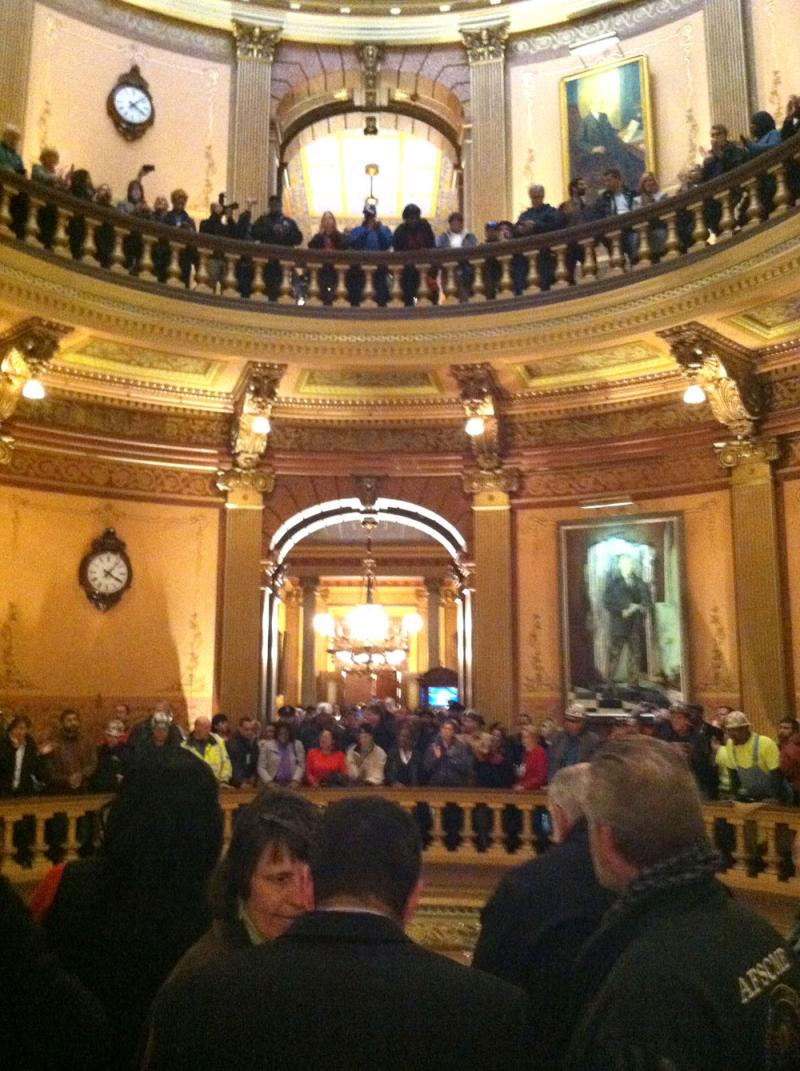Protesters in the Michigan Capitol last night demonstrating against the push for right-to-work legislation.