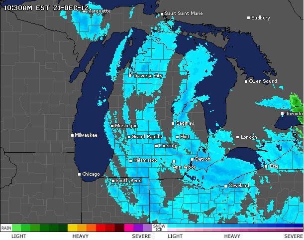 Current radar shows snow falling over Michigan.