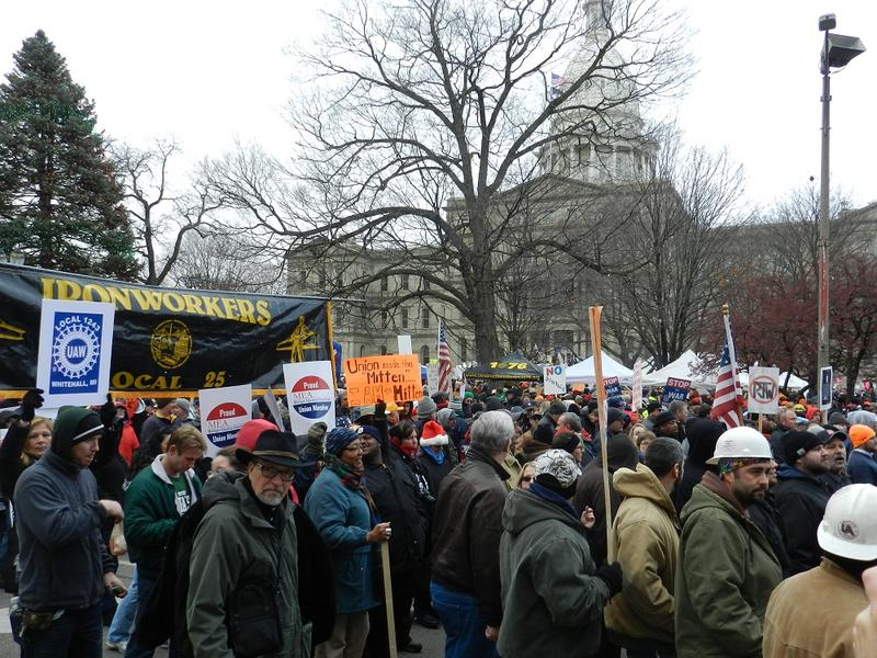 Protestors at the Capitol in Lansing, Michigan.