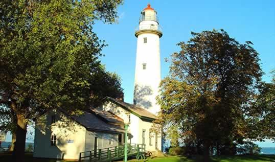 The Pointe Aux Barques lighthouse on Lake Huron