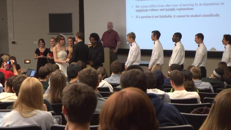 The fake wedding took place during Barry O'Connor's biology lecture.