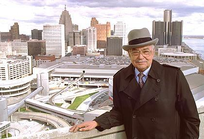 1989: Coleman Young stands atop the Riverfront Apartments