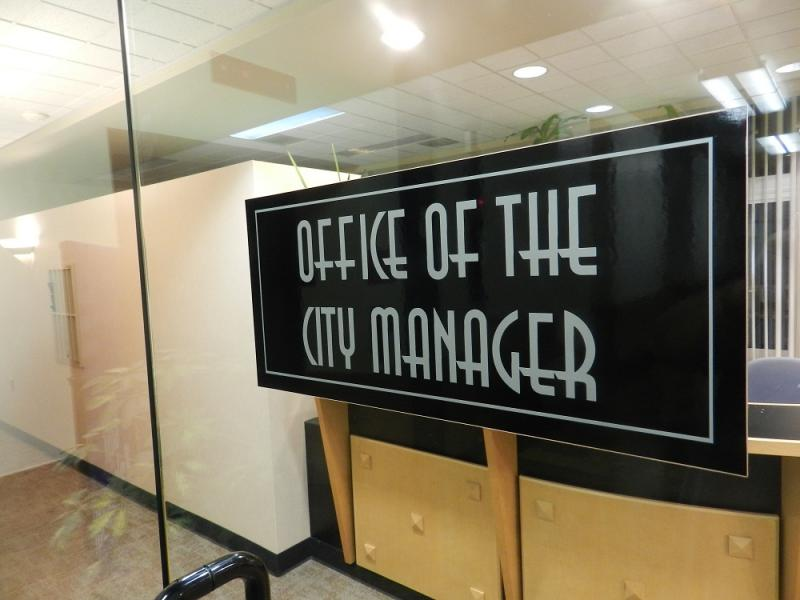 The door to the Kalamazoo City Manager's office