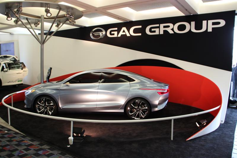 An electric concept car from Chinese automaker GAC Group at the Detoit auto show.