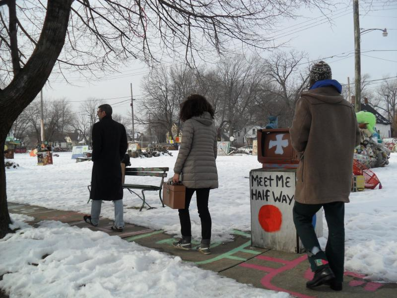Michel Soucisse of Hostel Detroit gives a tour of the Heidelberg Project