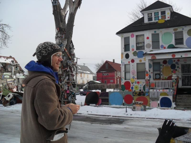 Hostel Detroit guest, Jonathan Dowdall enjoys Heidelberg Project