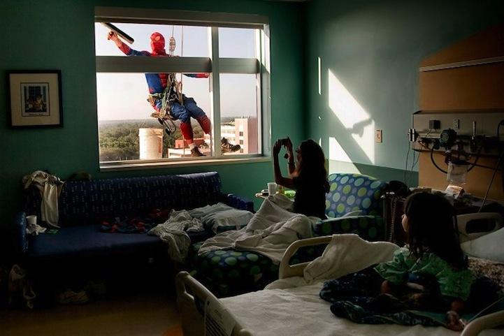 Spidey cleans the windows at All Children's Hospital in St. Petersburg, FL.