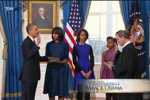 President Obama was sworn in to his second term yesterday during a small ceremony at the White House.