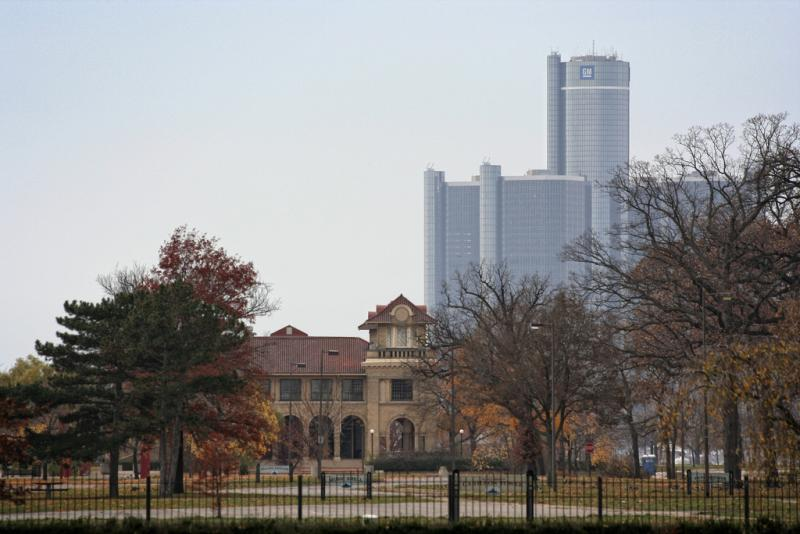 Belle Isle Casino with the GM RenCen in the background.