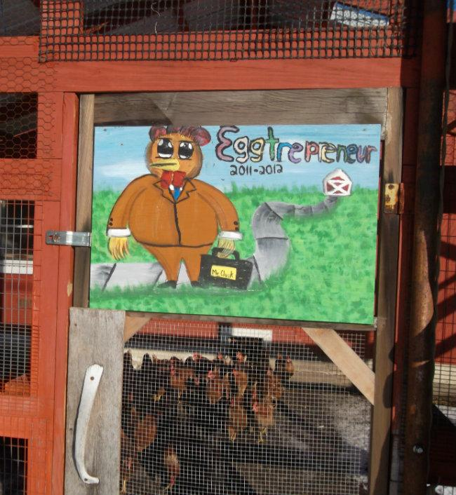 """Eggtrepreneur"" hen house in front of Blandford School in Grand Rapids."