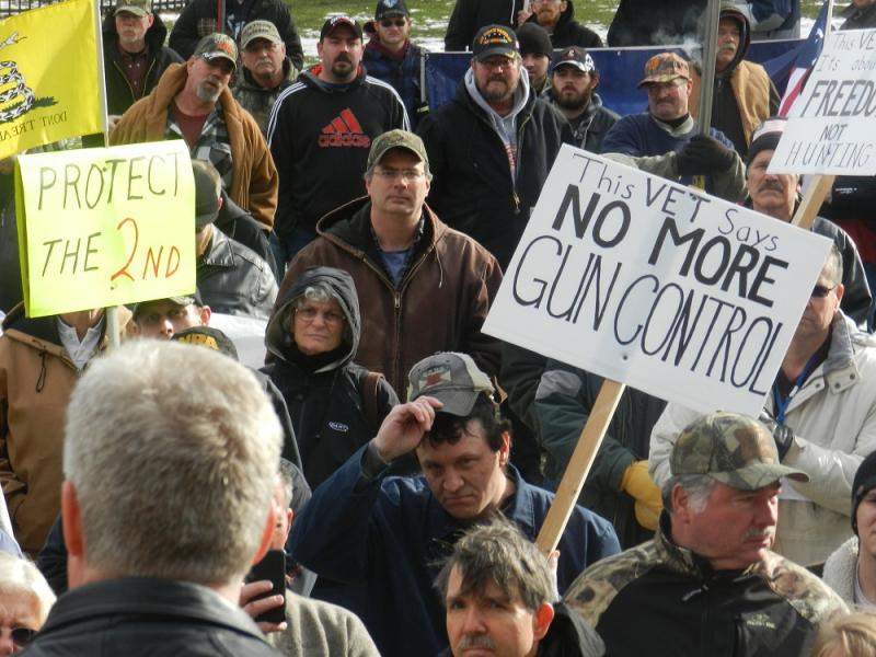 hundreds of gun rights supporters, many armed, attened the rally at the state capitol