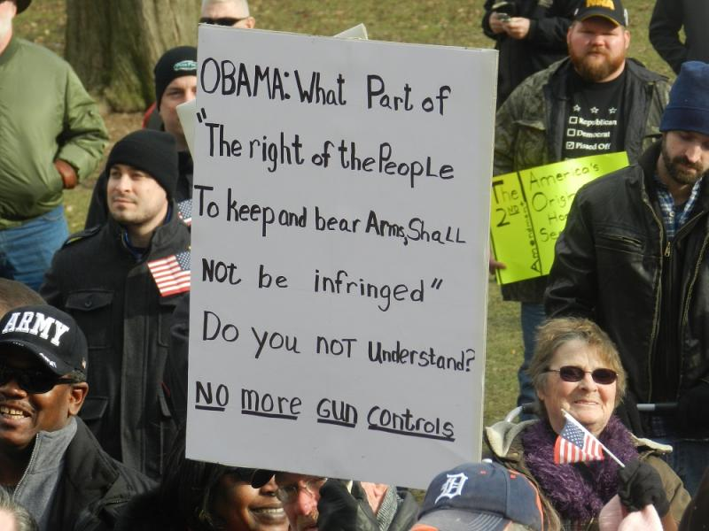 Many in the crowd were very angry at President Obama's call for tighten national gun control laws