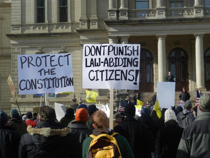 The crowd responded to speakers who claim the entire Bill of Rights is threatened by stricter gun control laws