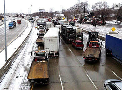 The Detroit News tweeted this picture of the crash along I-75.