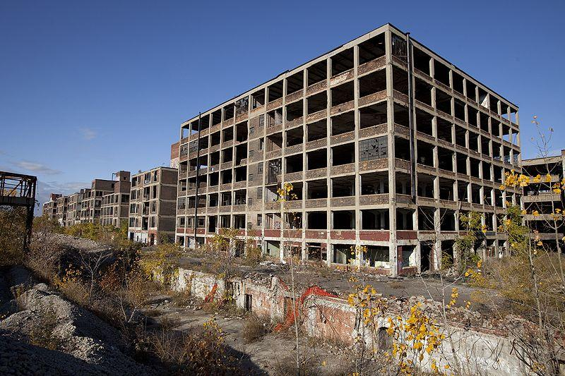 The abandoned Packard Automobile Factory is emblematic of the financial stress of many minority Michigan communities.