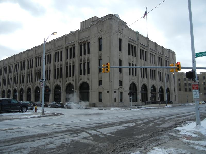 The historic Albert Kahn structure that once housed the Detroit News.