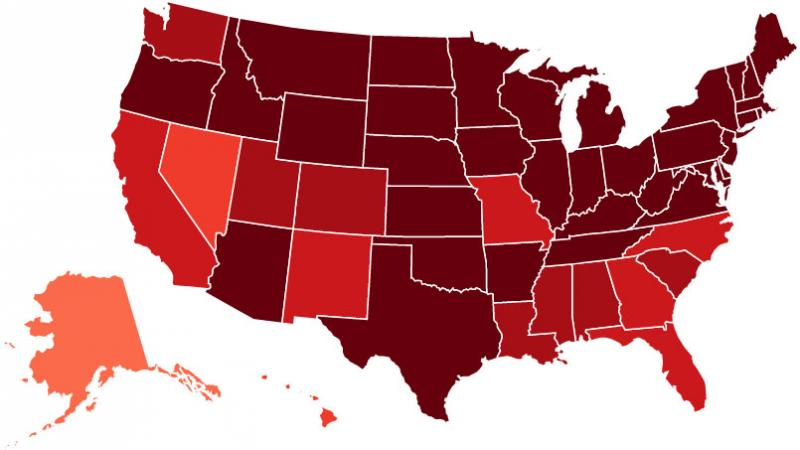 A map the team made with their Twitter method shows a high flu rate during the first week of January 2013.