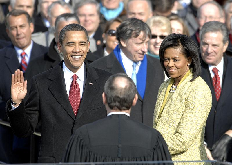 Barack Obama being sworn in as president of the United States on January 20, 2009.