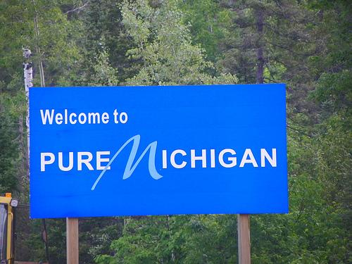 A sign promoting the Pure Michigan campaign.