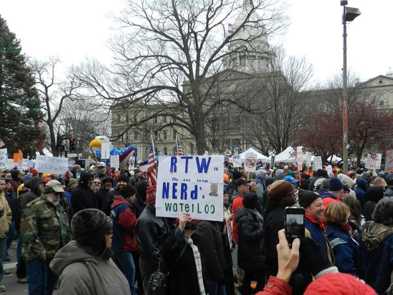 More than 12 thousand right-to-work protestors tried, and failed, to convince state lawmakers not to pass the legislation in December