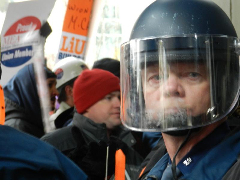 The Michigan State Police used a large contingent of state troopers to maintain control during the Dec. 12th protest