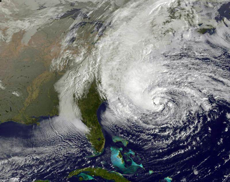 This NOAA satellite image Hurricane Sandy off the Middle Atlantic coastline moving north with maximum sustained winds of 75 mph.