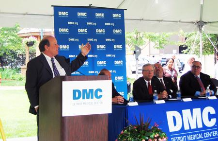Mike Duggan making an address at the Detroit Medical Center