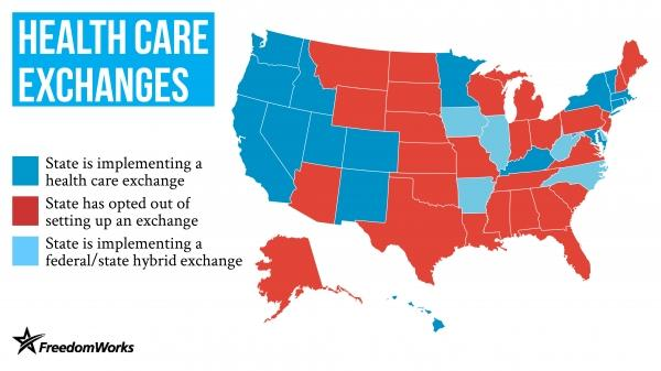 Freedom Works has this map of states that plan to adopt a state exchange or a state-federal exchange. Does the map look familiar? Michigan could turn light blue yet.