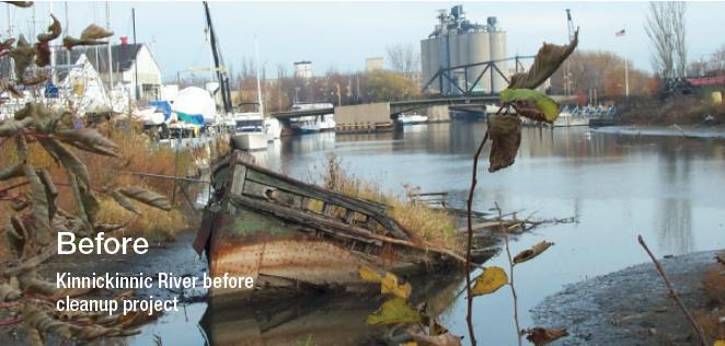The Kinnickinnic River in Milwaukee before cleanup project. Those watching federal Great Lakes clean-up projects worry the sequester might curb clean-up.