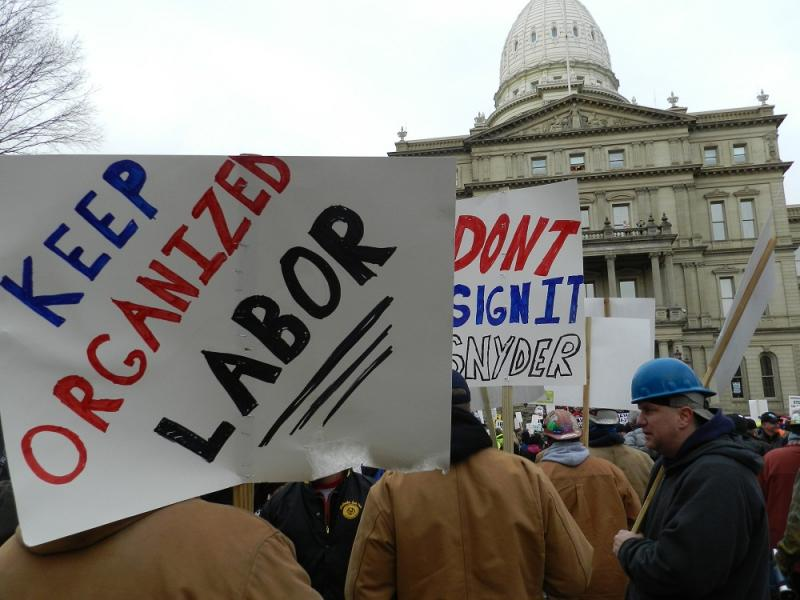 Union members flooded the state capitol grounds December 12th  to express their opposition to Right to Work legislation