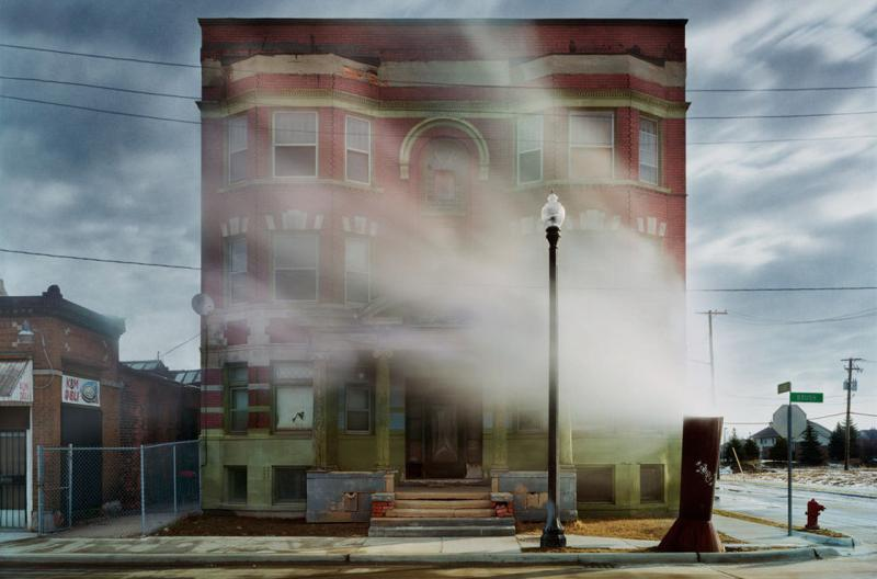 "An image from ""Detroit Disassembled,"" an exhibit on display at the National Building Museum that focuses on the decay of buildings in Detroit rather than the city's residents."