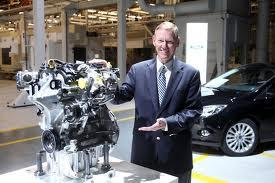 Ford CEO Alan Mulally with 3 cyl turbo engine