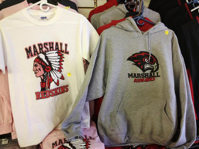 "Marshall High School changed its nickname to the Redhawks nearly a decade ago, but ""Redskins"" gear still way out-sells ""Redhawks"" T-shirts and sweatshirts."
