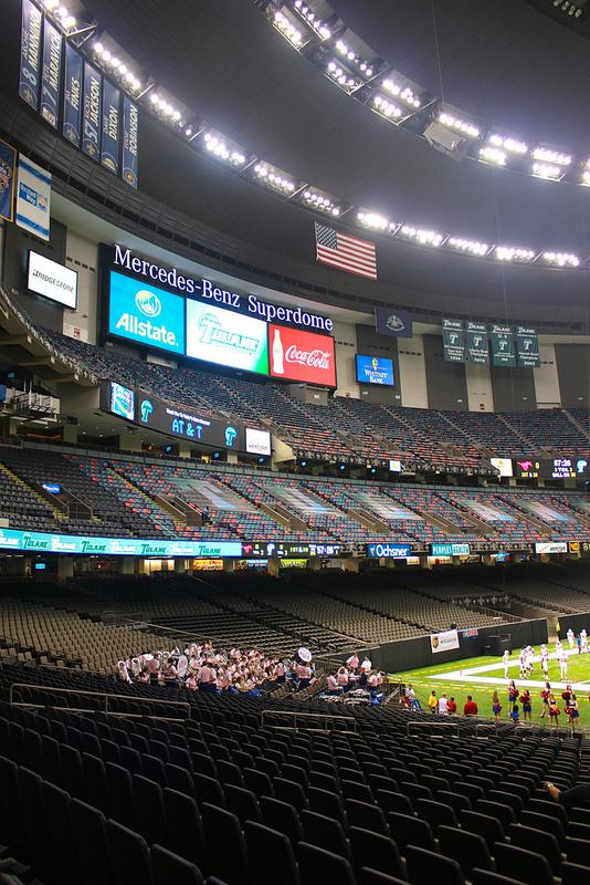 A view of jumbotron advertisements inside Mercedez-Benz Superdome before the Superbowl XLVII