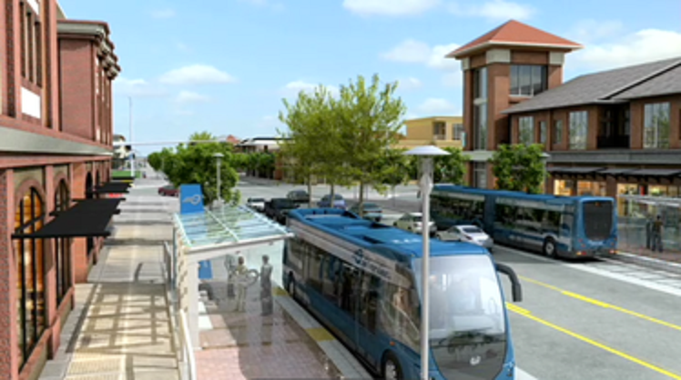 An artist's conception of the planned Silver Line bus rapid transit line in Grand Rapids