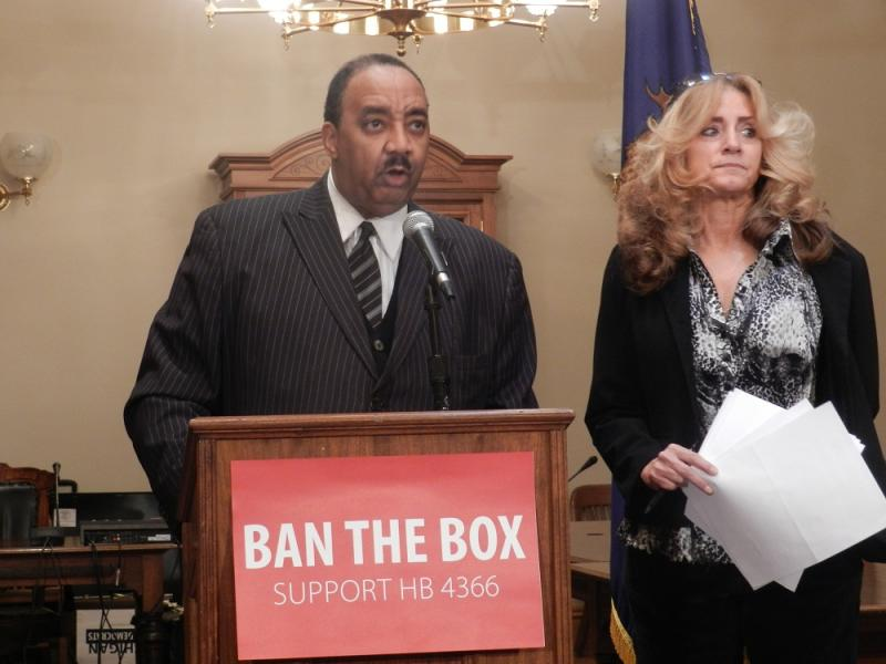 State Representative Fred Durhal (D-Detroit) (left) and Monica Jahner of the Fair Chance Coalition to Ban the Box, held a news conference today announcing HB 4366