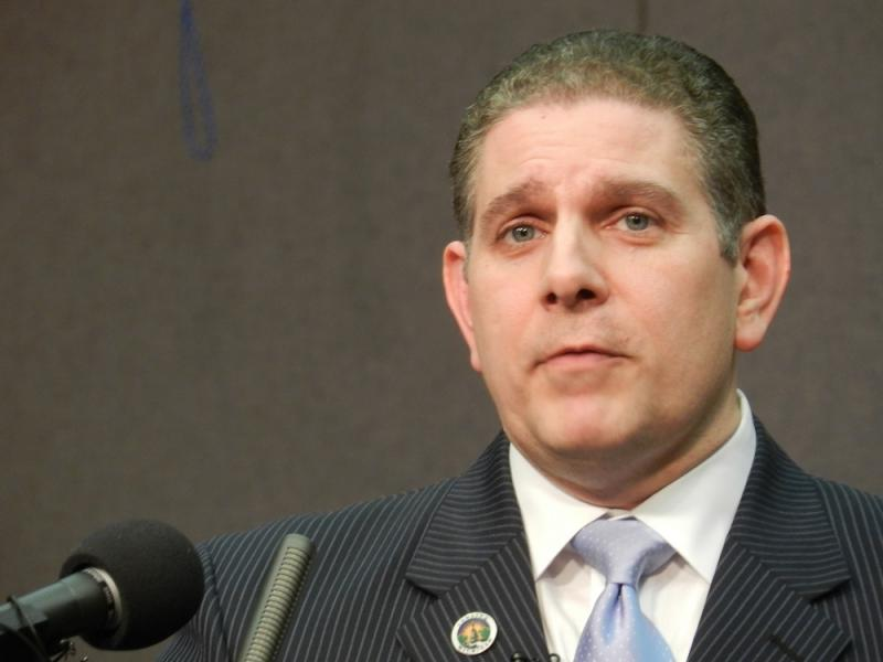 Lansing Mayor Virg Bernero outlining his $112 million general fund budget plan at last night's city council meeting