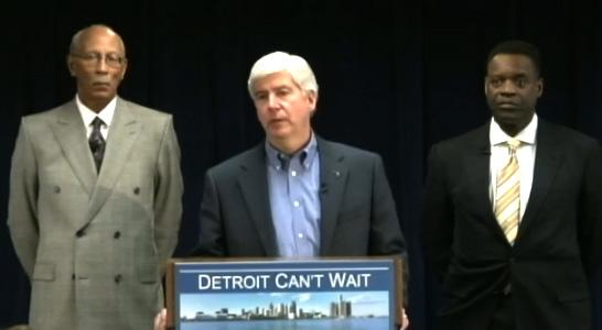Gov. Snyder announcing his choice for Detroit emergency manager. He's flanked by Mayor Bing and his choice for EM Kevyn Orr.