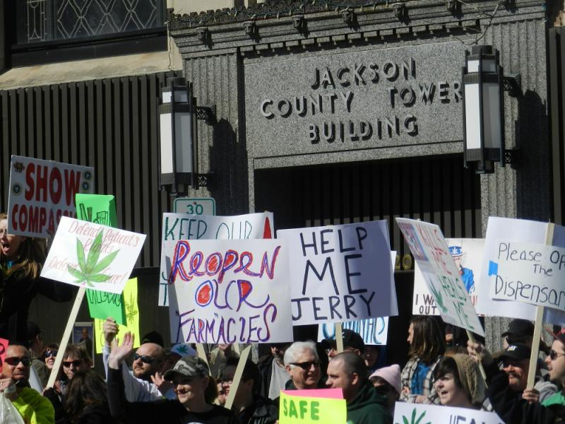 More than a hundred medical marijuana patients and their supporters rallied outside the Jackson County office building today to protest the county's swift action to close its 18 medical marijuana dispensaries after the state supreme court ruling Feb. 8th.
