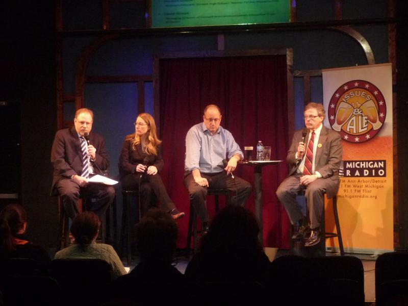 (Left to right) Panelists John Bebow, Shawna Groulx and David Zeman with host Jack Lessenberry