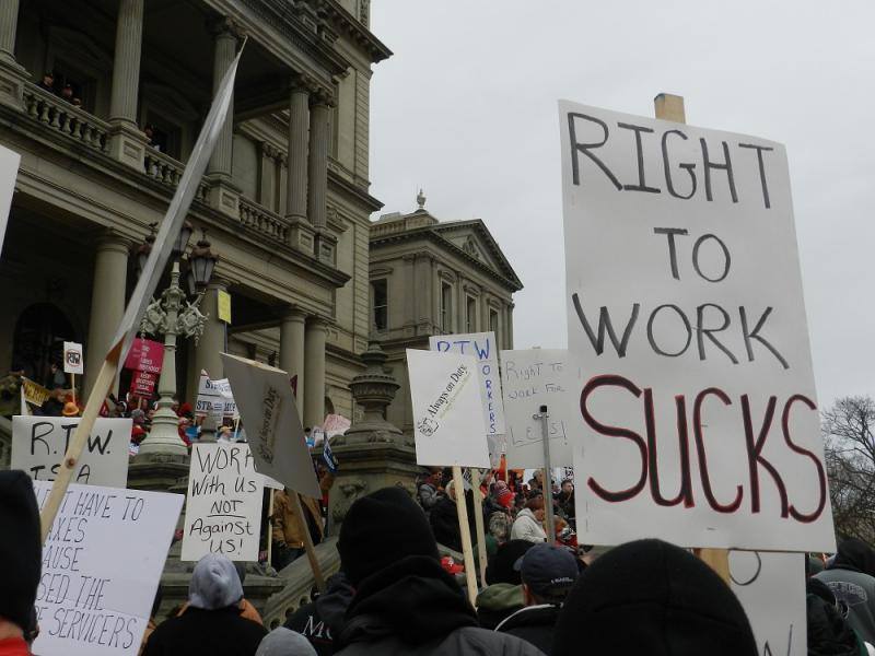 Not surprisingly the new MSU 'State of the State Survey' shows a large majority of union members oppose the Right to Work law.  But there is almost equal support for the law among non-union workers.  (file photo)