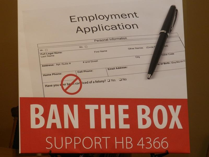 A bill in the Michigan legislature would literally 'Ban the Box' asking about criminal convictions on job applications.