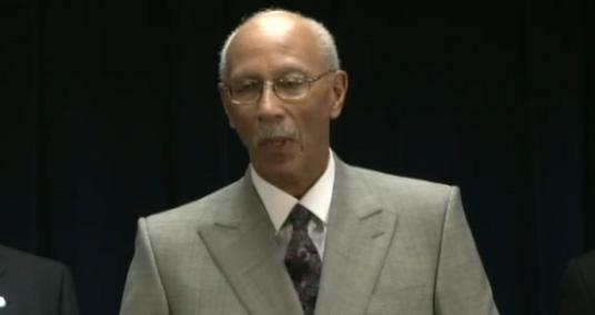 Detroit Mayor Dave Bing at the press conference today. Bing said he's glad to have a 'teammate' helping with Detroit's turnaround.