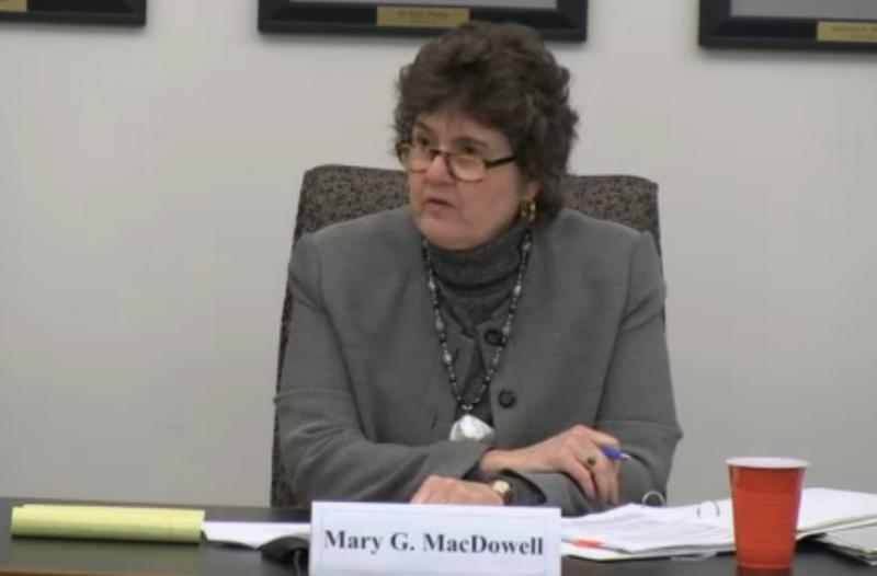 Deputy State Treasurer Mary McDowell oversaw the hearing.